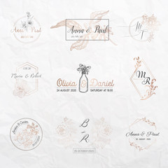 Wedding monogram collection, Floral templates for Invitation cards, Save the Date, Logo identity for restaurant, boutique, cafe in vector