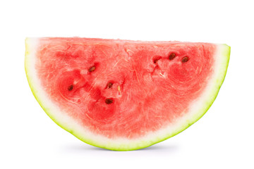 Bitten slice of watermelon on white background
