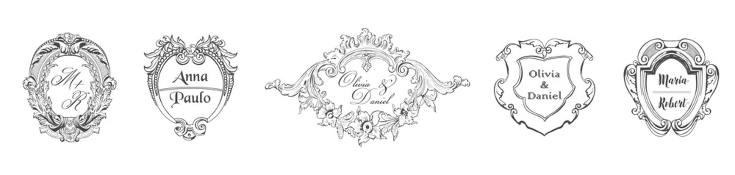 Wedding Monogram collection, Vintage Barocco templates for Invitation cards, Save the Date, Logo in vector