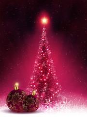 Christmas dark pink card with shiny Christmas tree and balls,