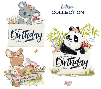 Collection with cute birthday animals with flowers