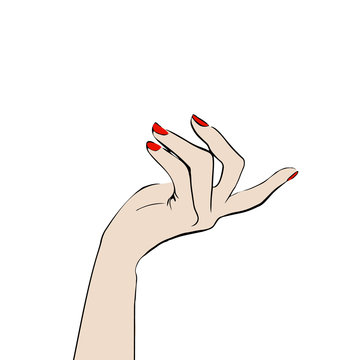 Beautiful female hand pointed by gesture aside isolated on white background. Beautiful female hand with red manicure on nails. Hand drawn fashion Sketch. Vector illustration. Style, beauty