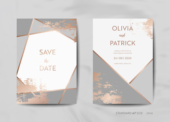Wedding Invitation Cards Collection. Save the Date, RSVP with trendy texture background and gold geometric art deco frame design illustration in vector