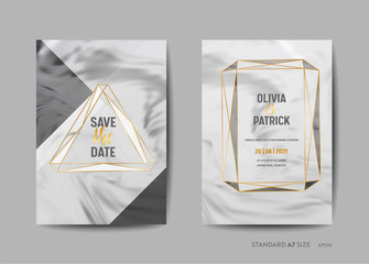 Wedding Invitation Cards Collection. Save the Date, RSVP with trendy marble texture background and gold geometric frame design illustration in vector