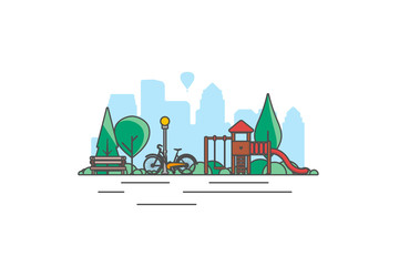 City park bench, lawn and trees, street lamp. Flat style line vector illustration