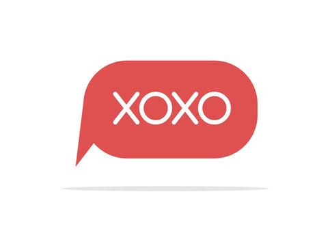 Xoxo text speech bubble isolated on white background. Love background design icon