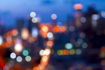 Urban lights bokeh image, defocused city lights