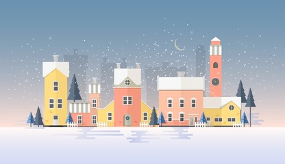 Fototapete - Horizontal winter cityscape with town in snowfall. Landscape with night city street, beautiful old buildings, towers and fir trees covered with snow. Colorful vector illustration in flat style.