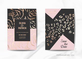 Wedding Invitation Cards, Save the Date with trendy Animal Skin golden texture background illustration in vector