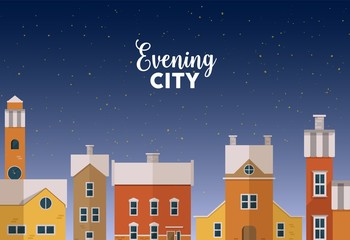 Fototapete - Horizontal banner template with evening winter urban landscape with city street, facades of beautiful buildings and starry sky on background. Colorful vector illustration in flat cartoon style.