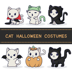 6 Cat Costomes Cute elements Halloween., Halooween festival.