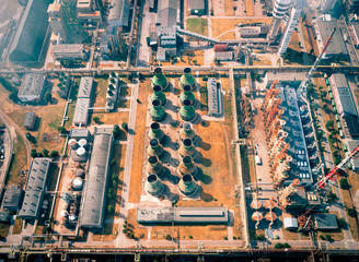 Industrial Factory, Power Plant, Aerial View