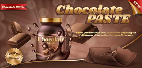 Vector promotion banner of chocolate paste or nut butter in plastic jar, isolated on brown background. Advertising banner with container of choco spread, sweet fast food for eating with bread