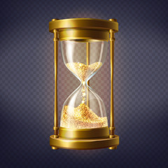 Vector realistic hourglass, antique clock with golden sand inside, isolated on transparent background. Sandglass is device used to measure hours and minutes. Time is gold, concept illustration