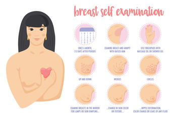 Young asian woman shows how to do breast cancer self exam.