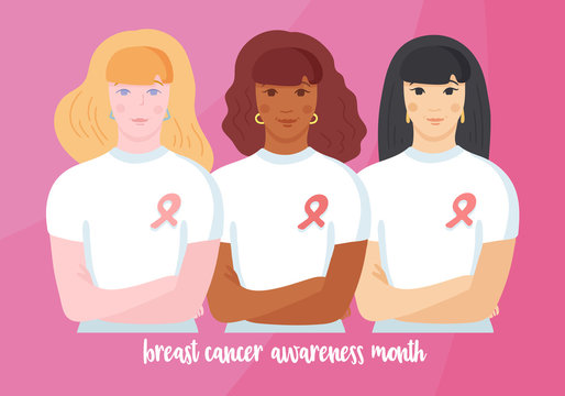 Asian, afro american and caucasian women in white T-shirt with pink ribbon on chest, hands crossed, standing together supporting fighters.