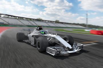 Door stickers Motor sports F1 Rennstrecke und weißer Rennwagen