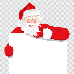 Santa isolated on transparent background. Promoting Santa. Vector