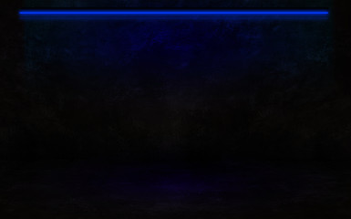 Empty wall background, basement, neon light