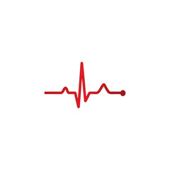 Heart beat pulse flat icon for medical apps and websites.