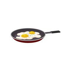 Fried egg in a frying pan, fresh nutritious breakfast food, design element for menu, cafe, restaurant vector Illustration on a white background