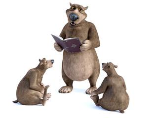 3D rendering of cartoon bears having a storytime.