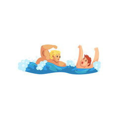 Male lifeguard saving a drowning man, professional rescuer on duty vector Illustration on a white background