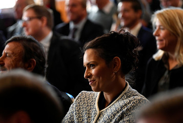 Priti Patel attends a the presentation of a trade plan for a post-Brexit Britain, in London