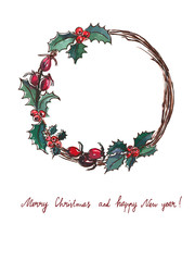 Vector illustration. Christmas wreath on white background.