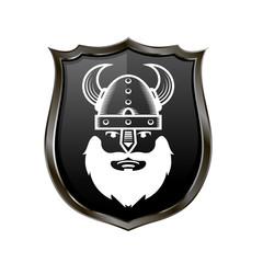 Viking Warrior Head Icon on Metal Shield