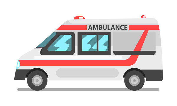 Ambulance service car, emergency medical service vehicle vector Illustration on a white background