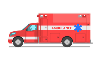 Red ambulance car, emergency medical service vehicle vector Illustration on a white background