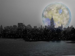 Terraformed moon over night city