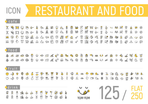 Food and restaurant icon set. Flat and linear