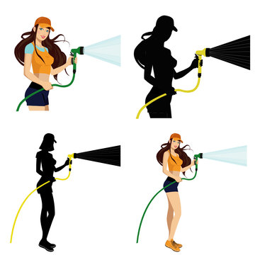 beautiful girl with a water hose.Set of four illustrations