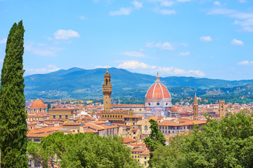 "Aerial view of Florence with the Basilica Santa Maria del Fiore (Duomo) and tower of ""Palazzo Vecchio"" seen from the ""Bardini Gardens"", Tuscany, Italy"