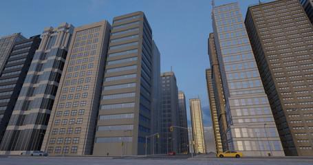 Metropolitan Aerial City Flight Render With Skyscrapers - Sunset Time