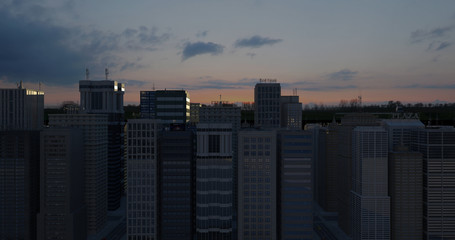 Aerial 3D City Render Over Skyscrapers At Night Time - CG