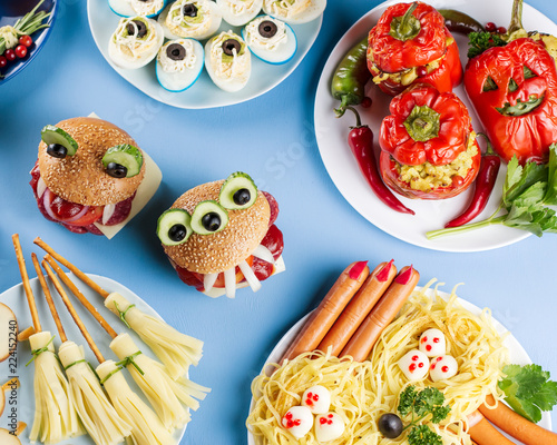 Halloween Hamburgers.Halloween Party Food Frame Stuffed Peppers With Scary Faces