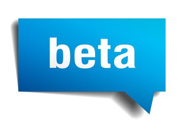 beta blue 3d speech bubble