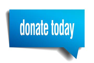 donate today blue 3d speech bubble