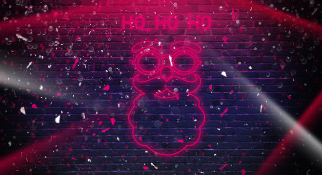 Merry Christmas. Santa Claus. Background of brick wall, light of neon. Celebratory background.