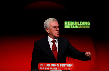 The Labour Party's shadow Chancellor of the Exchequer John McDonnell speaks at the party's conference in Liverpool
