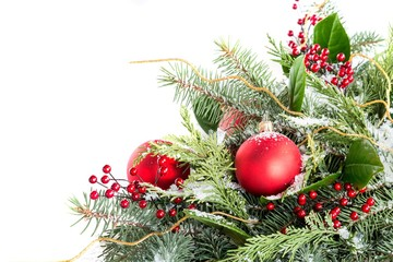 Christmas ornaments and greenery