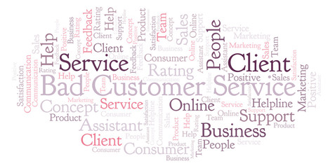 Bad Customer Service word cloud.
