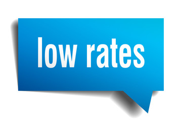 low rates blue 3d speech bubble