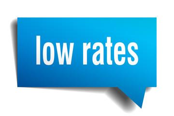low rates blue 3d speech bubble