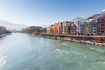 Innsbruck with river Inn on sunny winter's day