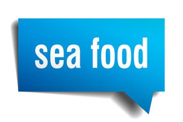 sea food blue 3d speech bubble