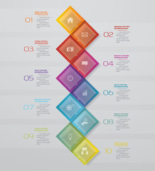 Abstract 10 steps timeline infographic element. 10 steps infographic, vector banner can be used for workflow layout, diagram,presentation, education or any number option. EPS10.